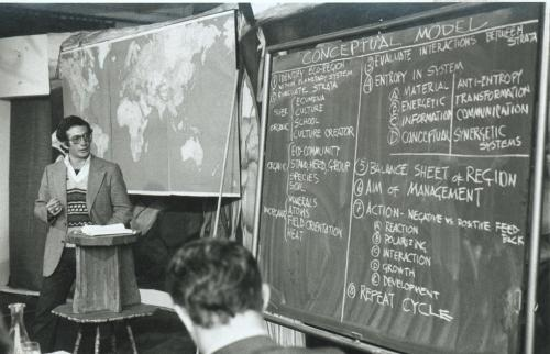 Presenting a conceptual model for ecological management at the 1980 I.E. Planet Earth conference, Les Marronniers, Aix-en-Provence, France.
