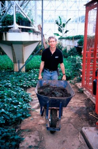 "During the ""Victory Garden"" campaign in Biosphere 2, making additional food crop areas to increase use of ""sunfall"", Biosphere 2, 1991-1993."