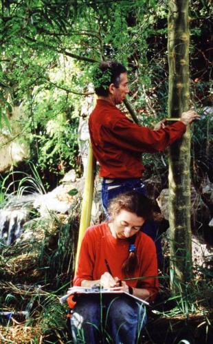 Linda Leigh and Mark re-measuring trees in the savannah biome of Biosphere 2 as part of a biomass increase study, 1991-1993.