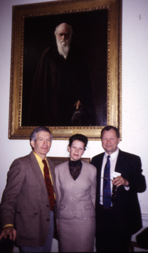 In front of portrait of Charles Darwin with Dr. Lydia Somova and Prof. Nicholai Pechurkin from the Institute of Biophysics, Krasnoyarsk, Siberia during the 4th International Conference on Closed Ecological Systems and Biospherics held at the Linnean Society of London in 1996.