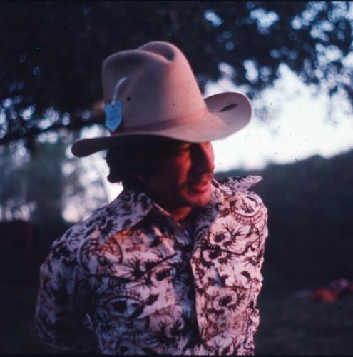 Mark Nelson at Fitzroy Crossing, West Australia rodeo, 1978. Mark helped start the Institute of Ecotechnics project, Birdwood Downs, which focuses on pasture regeneration in the tropical savannah.